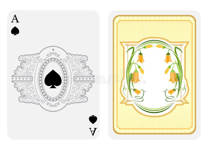 Ace of spades face with curly pattern frame with spades in center and back with vintage flower elements on suit. Vector card template stock illustration