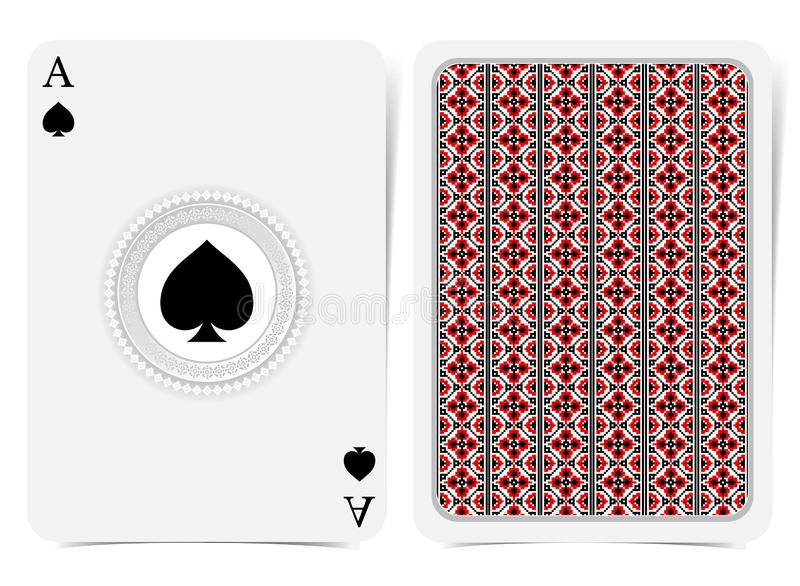 Ace of spades face with spades inside geometrical pattern frame and back with red-black Ukrainian folk embroidery pattern on suit. Vector card template vector illustration