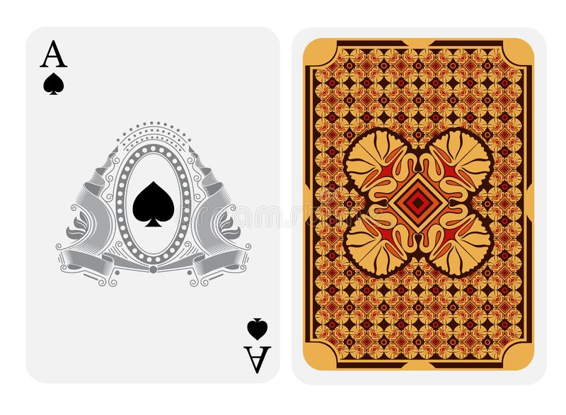 Ace of spades face with spades in center of oval frame with ribbon and line pattern and back with yellow red geometrical texture o. N suit. Vector card template vector illustration