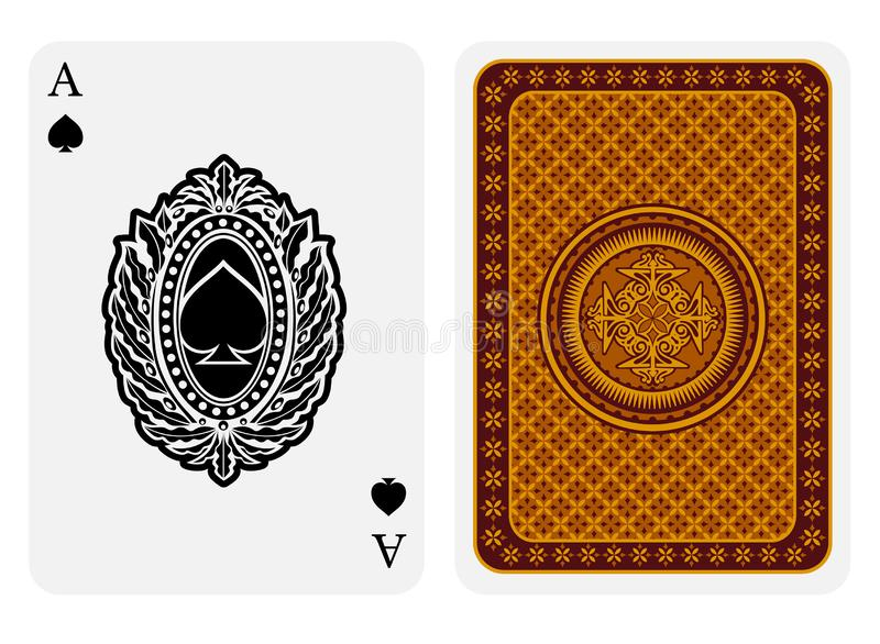 Ace of spades face with spades inside oval floral frame and back gold geometrical texture suit. Vector card template. On white background vector illustration