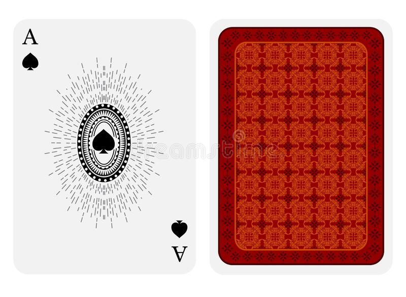 Ace of spades face with spades inside oval frame and back with red gold texture suit. Vector card template. On white background royalty free illustration