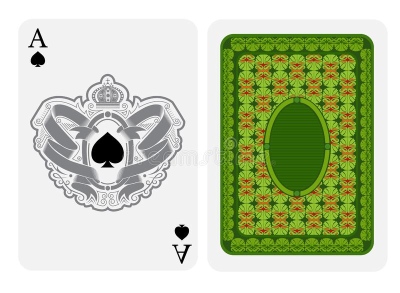Ace of spades face with spades inside oval frame in center and ribbon pattern around and back with green geometrical texture on su. It. Vector card template royalty free illustration