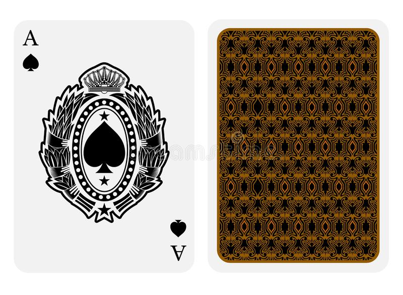 Ace of spades face with spades inside oval laurel wreath and back gold texture suit. Vector card template. On white background vector illustration