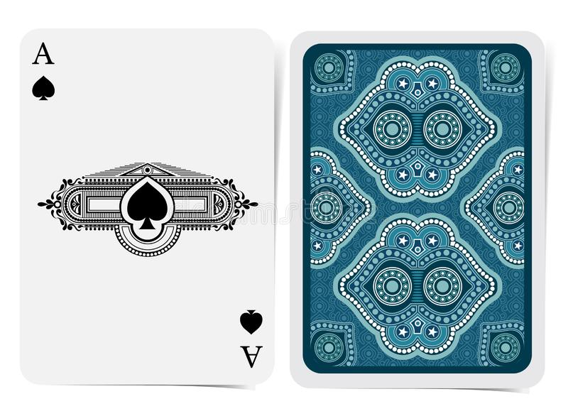 Ace of spades face with spades inside vintage frame and back with blue white geometrical texture suit. Vector card template stock illustration