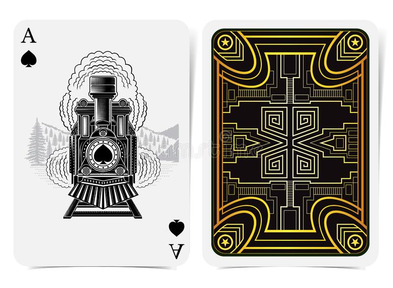 Ace of spades with spades inside vintage train in engraving style and back with golden art deco gatsby pattern style on black suit. Vector card template royalty free illustration