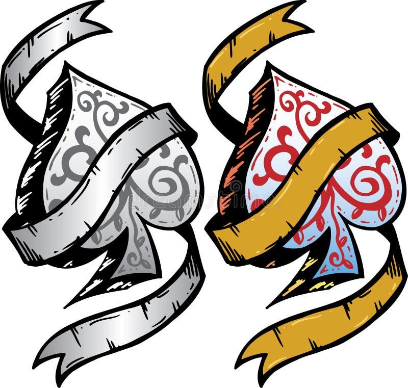 Ace of Spades tattoo style vector illustration stock photos