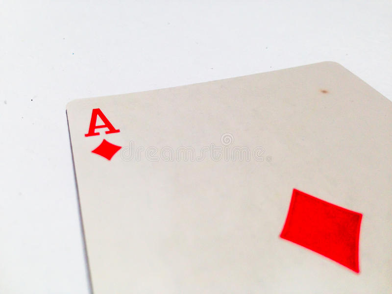 Ace Tiles / Diamonds Card with White Background. A playing card is a piece of specially prepared heavy paper, thin cardboard, plastic-coated paper, cotton-paper royalty free stock photo