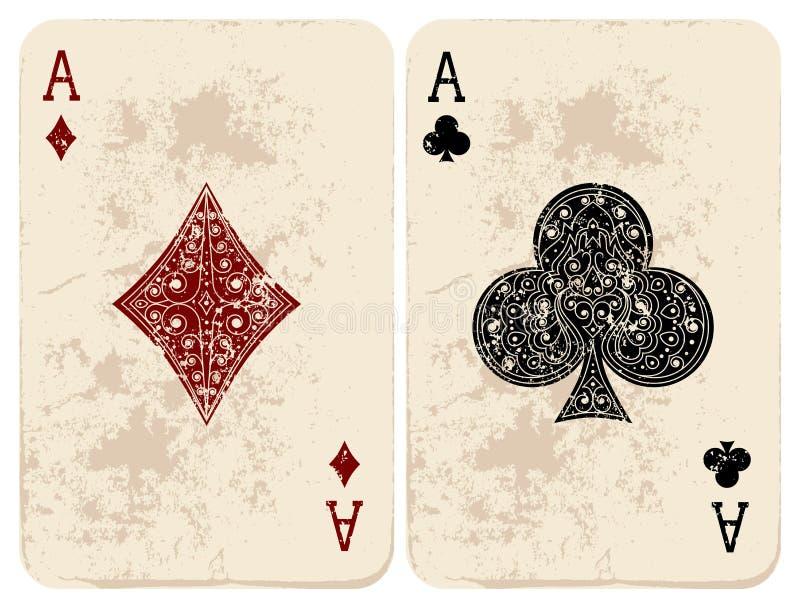 Ace van Diamanten & Clubs vector illustratie