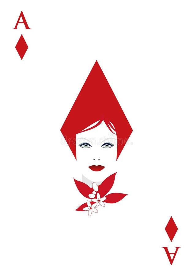 Ace van diamanten met het gezicht van een vrouw met bloemen en bladeren wordt versierd dat vector illustratie
