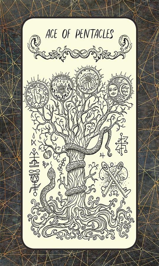 Ace van pentacles De Magische kaart van het Poorttarot vector illustratie