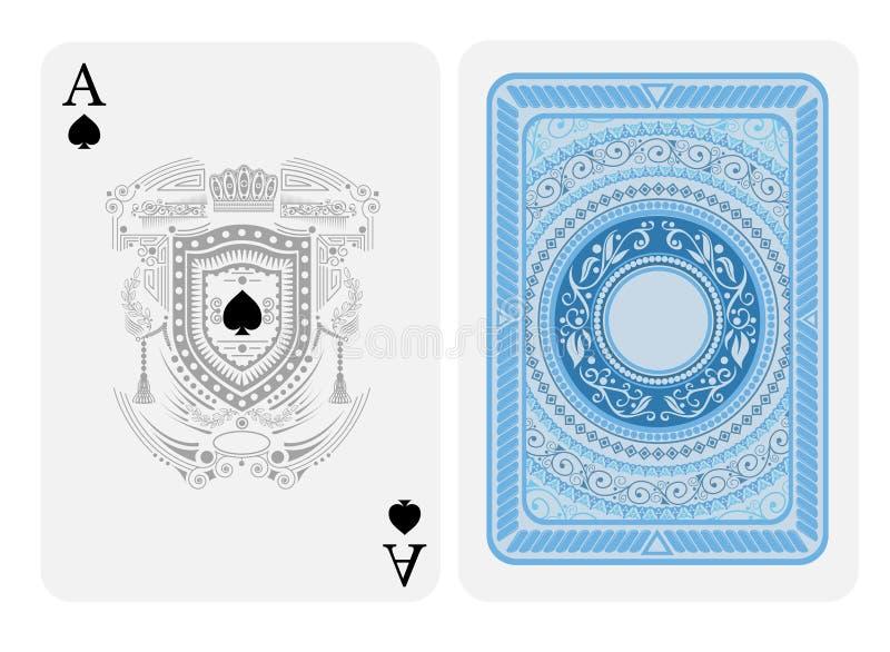 Ace van spades ziet met spades binnen van schild met patroon uitstekende geraldic elementen en terug met blauwe kleuren om patroo stock illustratie