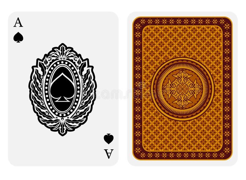 Ace van spadesgezicht met spades binnen ovaal bloemenkader en de achter gouden geometrische textuur passen aan Vectorkaartmalplaa vector illustratie