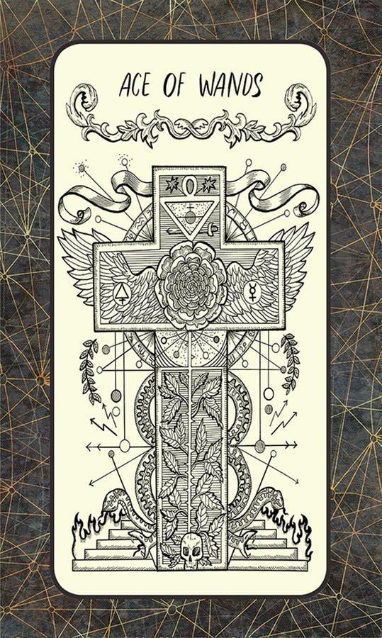 Ace van toverstokjes De Magische kaart van het Poorttarot stock illustratie