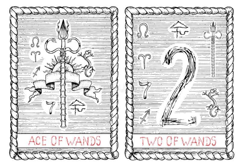 Ace y dos de varas La carta de tarot ilustración del vector
