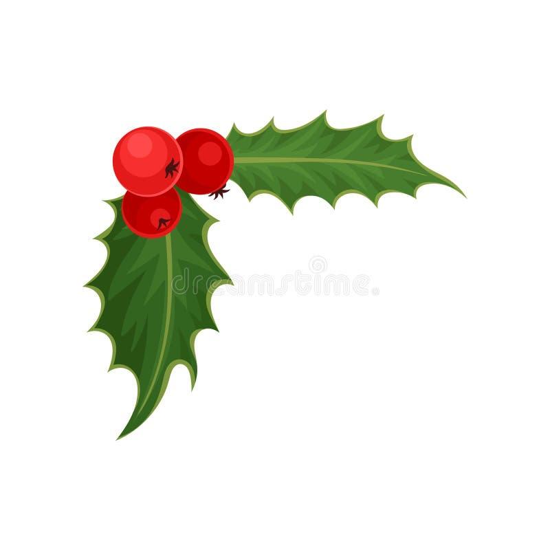 Acebo con las bayas rojas y las hojas verdes símbolo tradicional de la Navidad Tema de la naturaleza y de la botánica Icono plano libre illustration