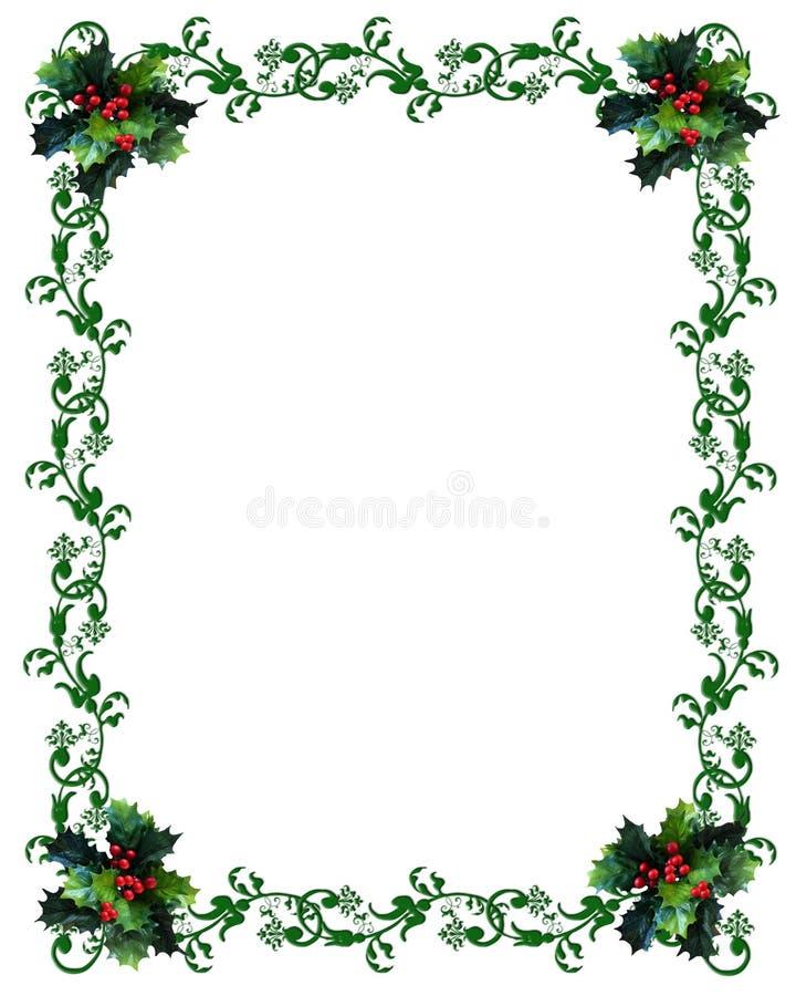 Acebo de la frontera de la Navidad en el fondo blanco stock de ilustración