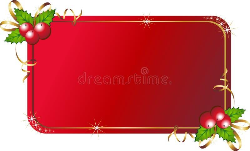 Acebo de la Navidad con la tarjeta ilustración del vector