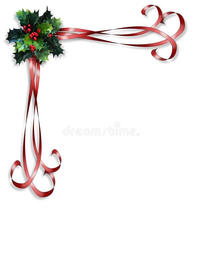 Acebo de la Navidad y frontera de las cintas ilustración del vector