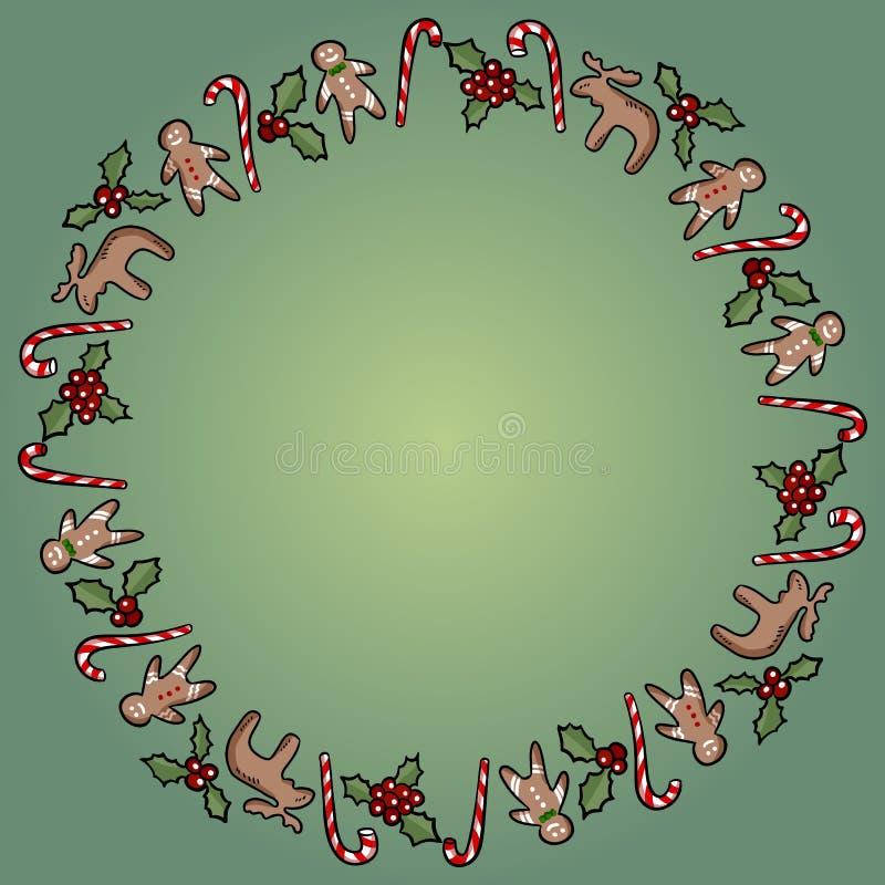 Acebo de la Navidad y guirnalda ornamental de los caramelos Plantilla de la postal del vector stock de ilustración