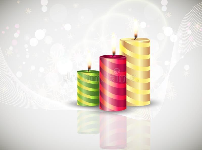 Acebo del día de fiesta de la tarjeta del fondo de las velas de la Navidad stock de ilustración
