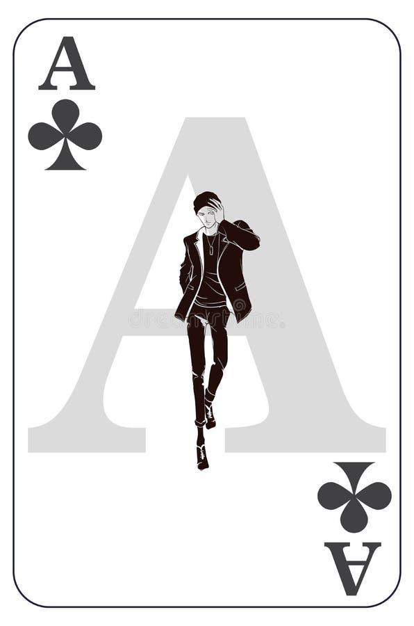 aced Игральная карта с клевера подписывает Символ туза игры Изолированная карта с модным бородатым человеком бесплатная иллюстрация