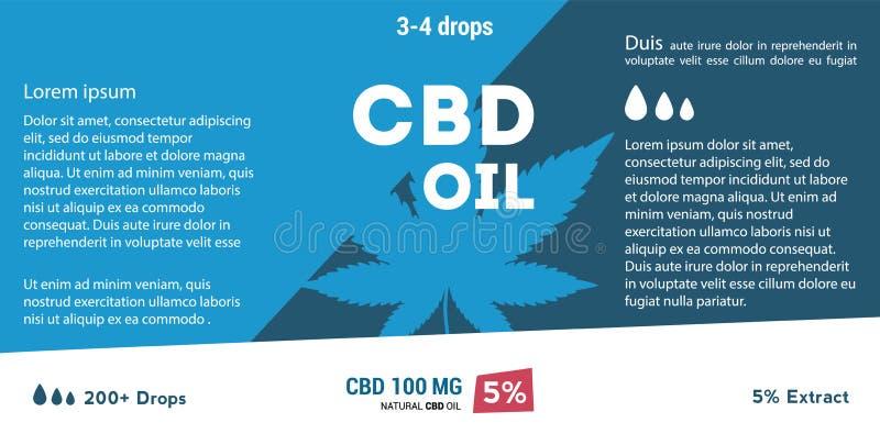 Aceite azul del cáñamo del vector Aceite de CBD Etiqueta de la hoja de la marijuana stock de ilustración