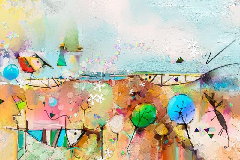 Aceite colorido abstracto de la fantas?a, pintura de acr?lico Pintura abstracta Semi- del ?rbol, de pescados y del p?jaro en pais stock de ilustración
