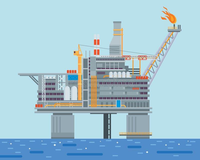 Aceite costero moderno Rig Drilling Facility Illustration stock de ilustración