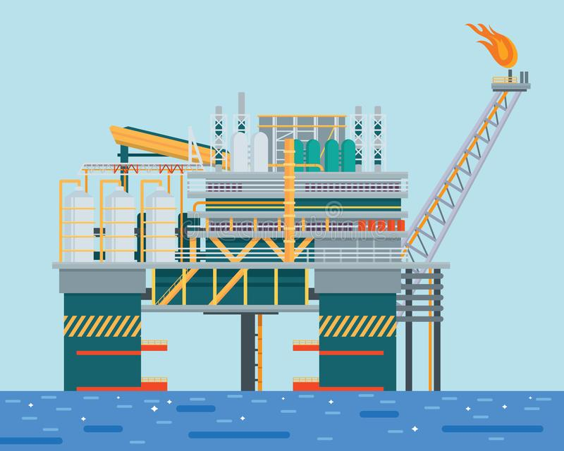 Aceite costero moderno Rig Drilling Facility Illustration libre illustration
