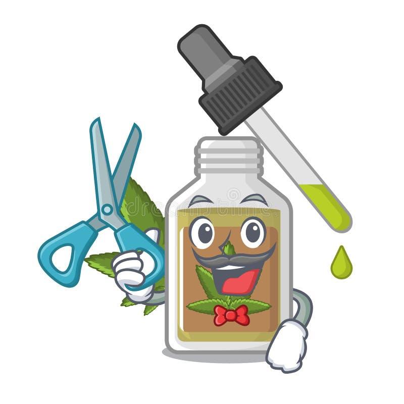 Aceite de cáñamo del peluquero en la botella del carácter stock de ilustración