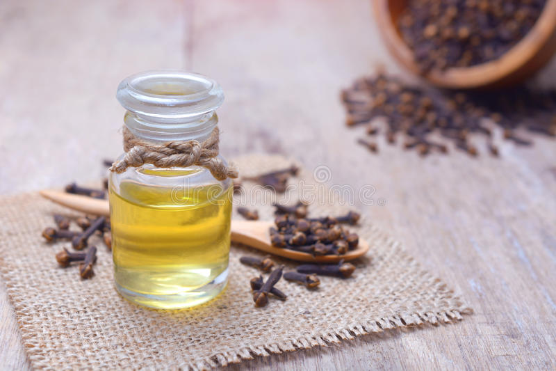 Aceite de clavo esencial del aroma en una botella de cristal fotografía de archivo