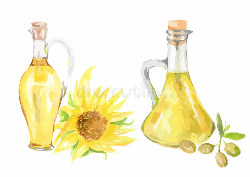 Aceite de girasol de la acuarela libre illustration