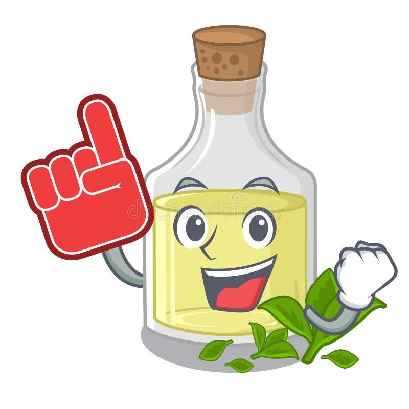 Aceite de hierbabuena del finger de la espuma sobre la tabla de madera de la mascota stock de ilustración