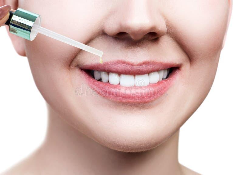 Aceite de los cosméticos que se aplica en los labios femeninos regordetes imágenes de archivo libres de regalías