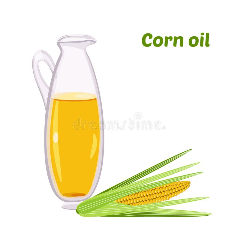 Aceite de maíz en una botella redonda Líquido comestible transparente del aceite sano orgánico natural, vegetal, natural histo fotos de archivo