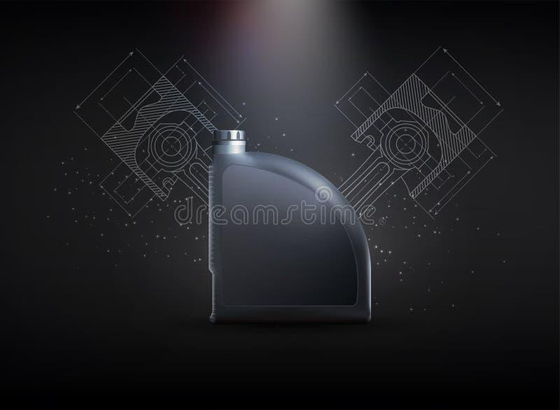 Aceite de motor, gran diseño para cualquier propósitos stock de ilustración