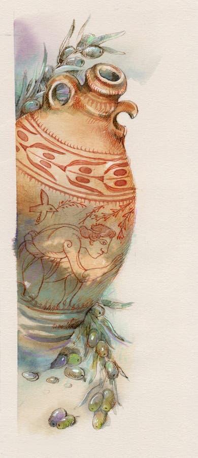 Download Aceite de oliva stock de ilustración. Ilustración de amphora - 7150663