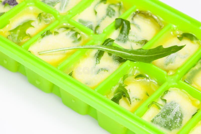 Aceite de oliva con las hierbas y las especias fotografía de archivo