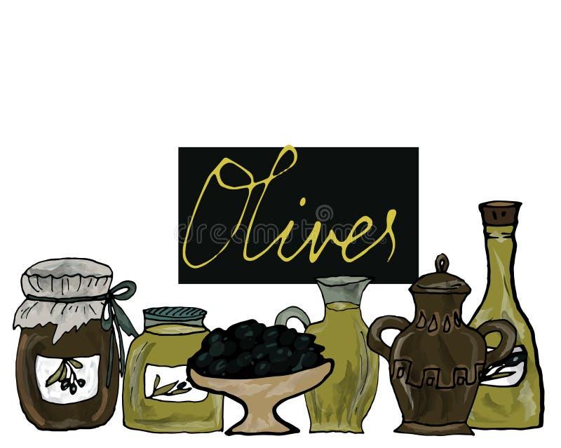 Aceite de oliva en las botellas, tarros con las aceitunas en la tabla Espacio para el texto Ilustración a mano del vector stock de ilustración