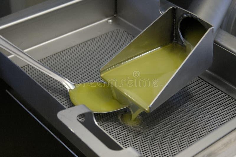 Aceite de oliva virginal adicional fresco que vierte en el tanque imagenes de archivo