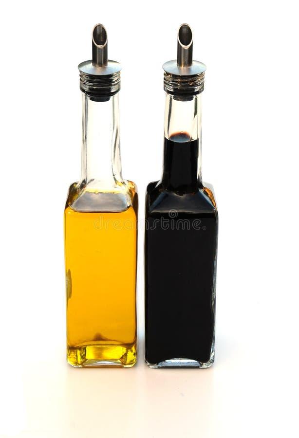 Aceite de oliva y vinagre balsámico foto de archivo