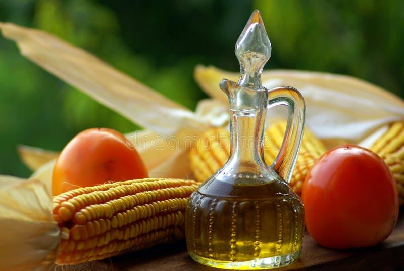 Aceite de oliva y vinagre y Frui fotografía de archivo