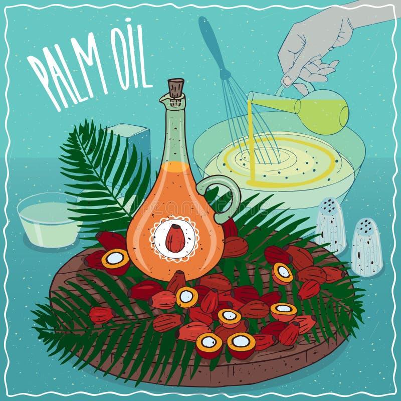 Aceite de palma usado para cocinar stock de ilustración