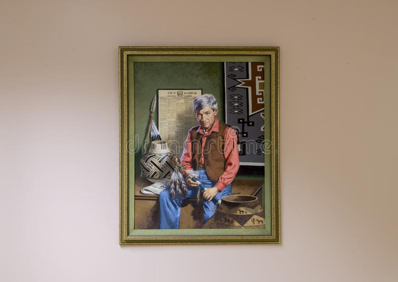 Aceite de Rogers en la pintura de la lona, Claremore, Oklahoma fotografía de archivo