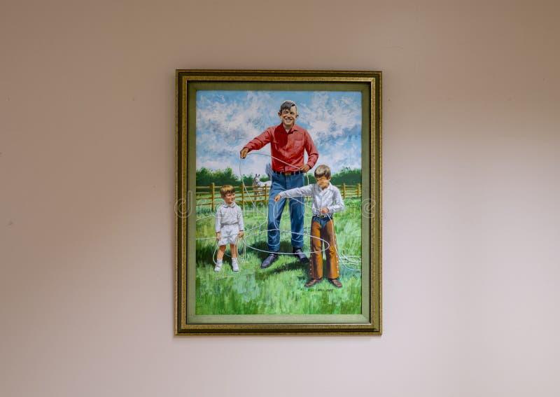 Aceite de Rogers en la pintura de la lona, Claremore, Oklahoma fotos de archivo