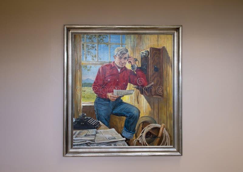 Aceite de Rogers en la pintura de la lona, Claremore, Oklahoma imagen de archivo libre de regalías