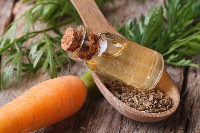 Aceite de semilla útil de la zanahoria en el primer de la botella de cristal horizontal imagenes de archivo