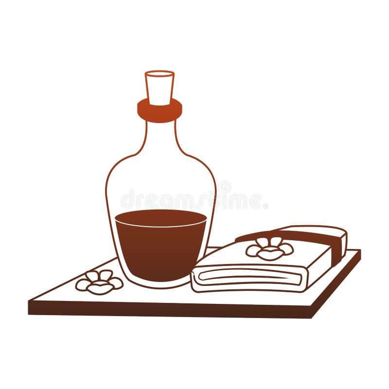 Aceite del balneario y l?neas rojas de las toallas stock de ilustración