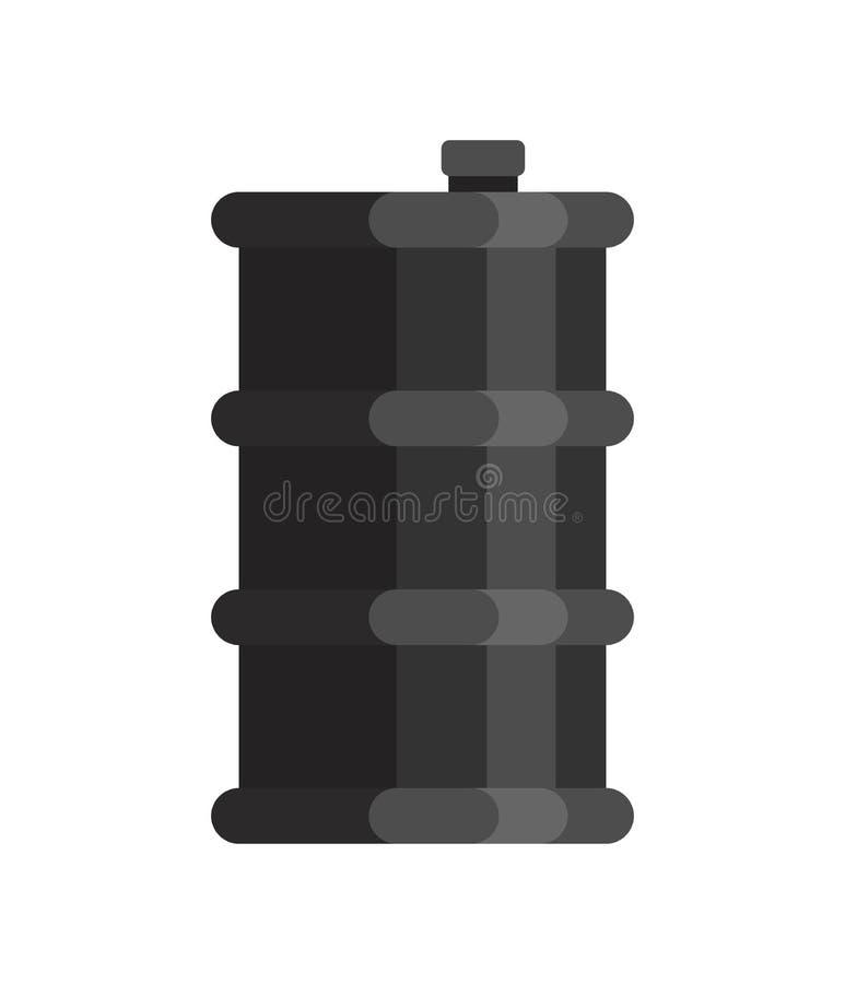 Aceite del barril aislado Fondo negro del blanco del petróleo del barrilete ilustración del vector