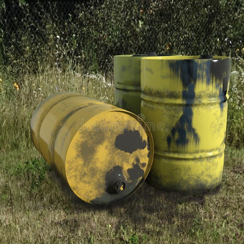 Aceite del barril del metal amarillo en la hierba verde, sucio viejo en wh stock de ilustración